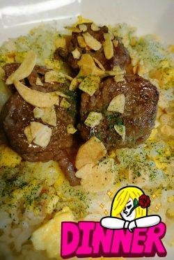 ガーリックライス&くるくるステーキ