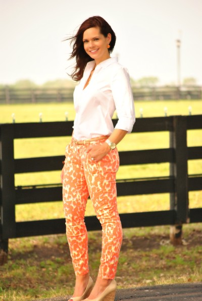 Coral Jeans, White Shirt