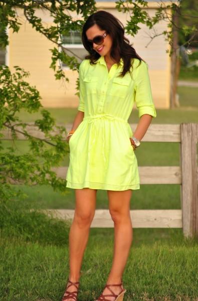 Neon Shirtdress, Tan Wedges,