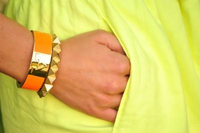 Neon Yellow Dress, C. Wonder Initial Cuff