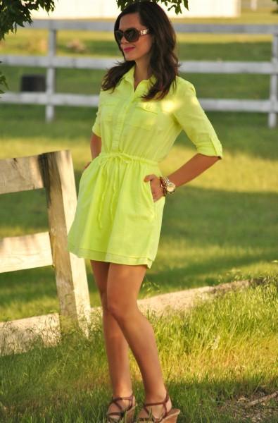 Neon Yellow Dress, Tan Wedges
