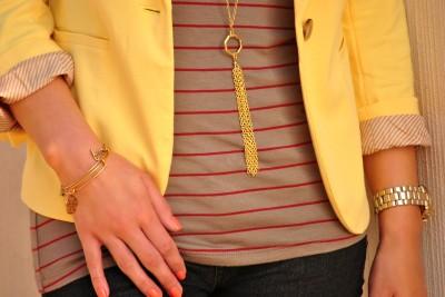 Yellow blazer, Alex and Ani bracelets