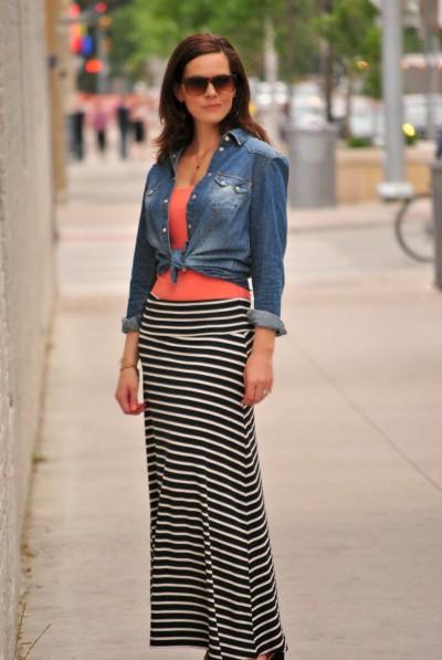 maxi skirt, tank top, denim shirt