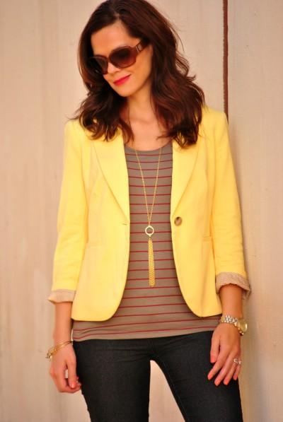 yellow blazer, striped shirt