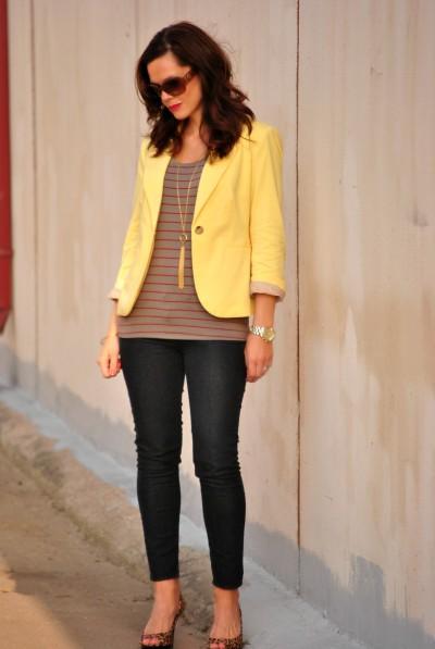 yellow blazer, striped top, skinny jeans, leopard heels