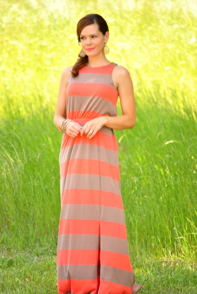 Coral Beige Striped Maxi Full2
