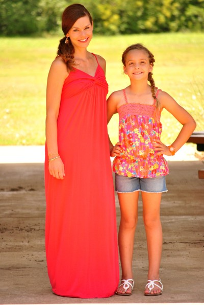 Mom and Me Coral Maxi Dress