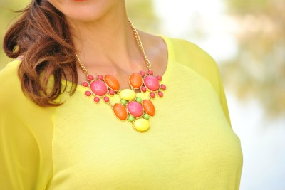 Neon Yellow Shirt Statement Necklace