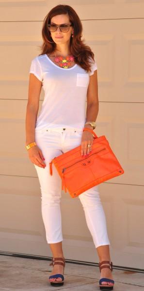 White Jeans White Tee Orange