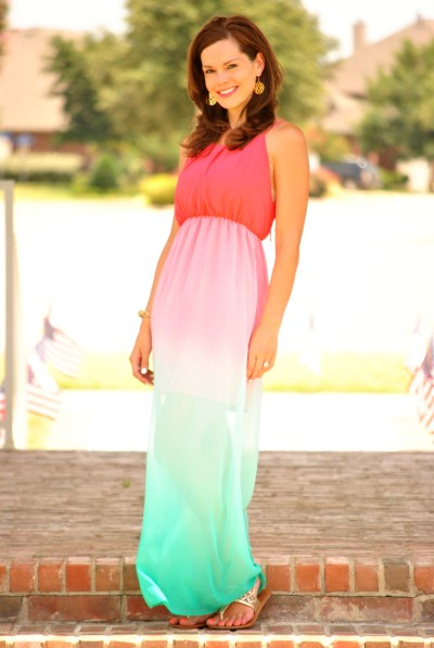 Coral Turquoise Dress Full