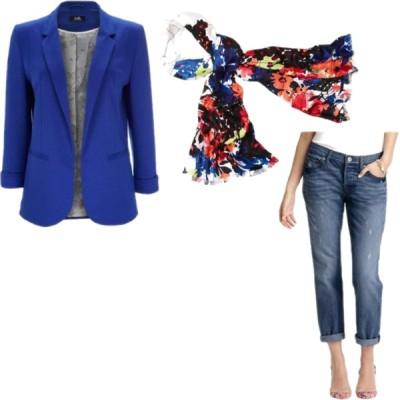 Cobalt Blazer, Floral Scarf, Boyfriend Jeans