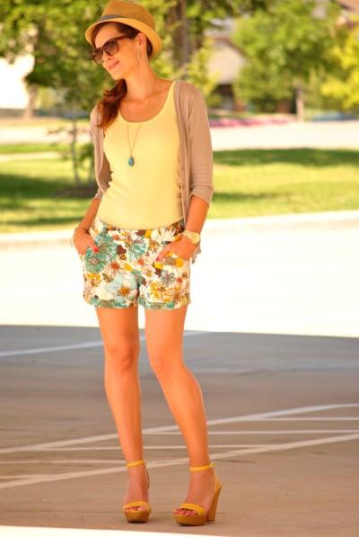 Fedora Floral Shorts Tank Top
