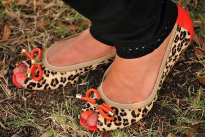 Striped Top Leopard Flats
