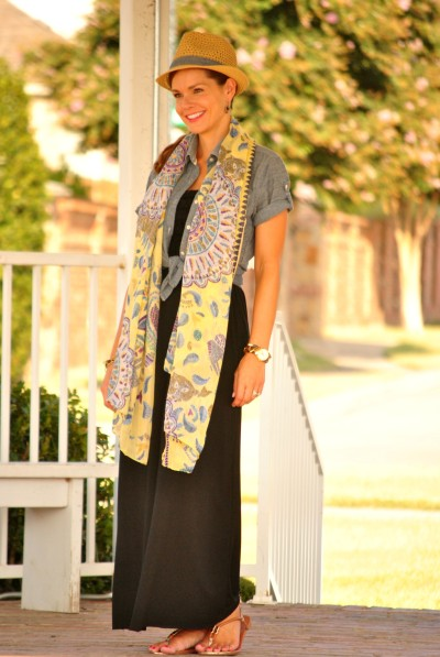Chambray Black Dress Scarf Full 2