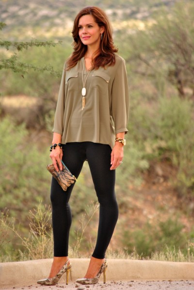 Olive Blouse Leggings Full