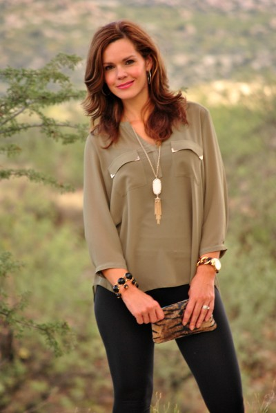 Olive Blouse Leggings Outfit 2