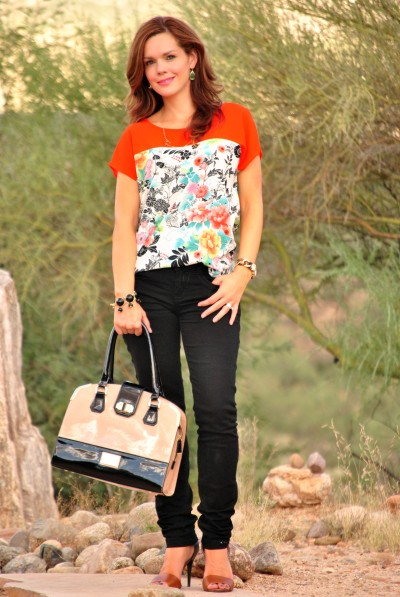 Floral Blouse Black Jeans Full