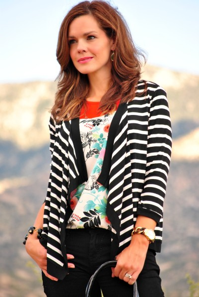 Floral Blouse Striped Cardigan