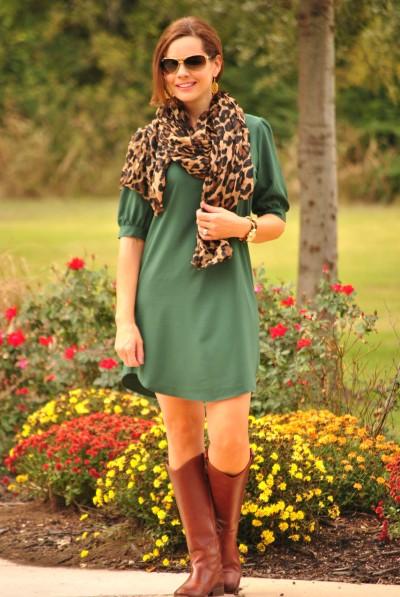 Shift Dress Green Leopard Full