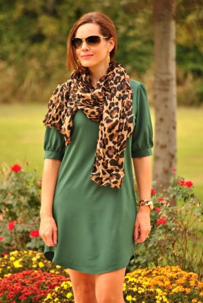 Shift Dress Green Leopard Half