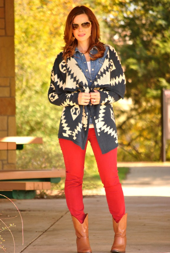 Tribal Sweater Red Jeans Boots Full