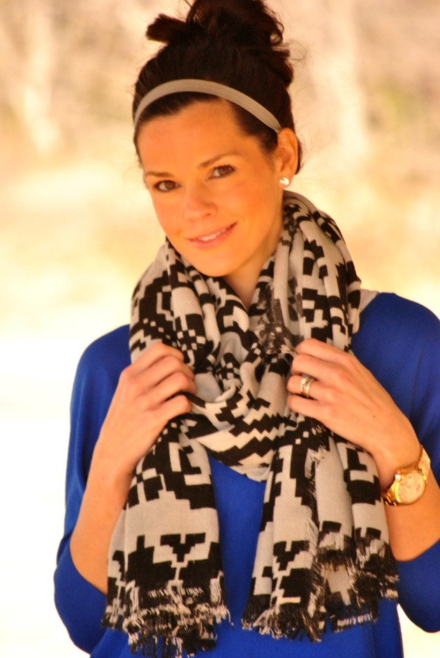 Tribal Scarf Cobalt Sweater Close