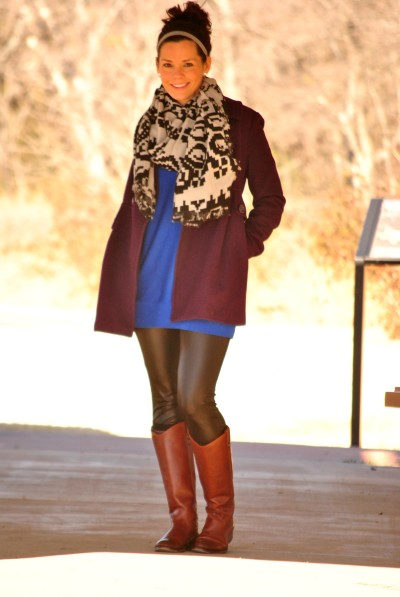 Tribal Scarf Leather Leggings Full