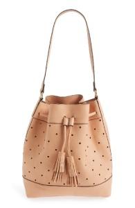 perforated bucket bag blush