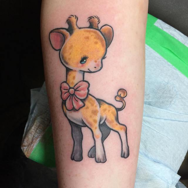 Cute giraffe from today art brought in by client tattoohellip