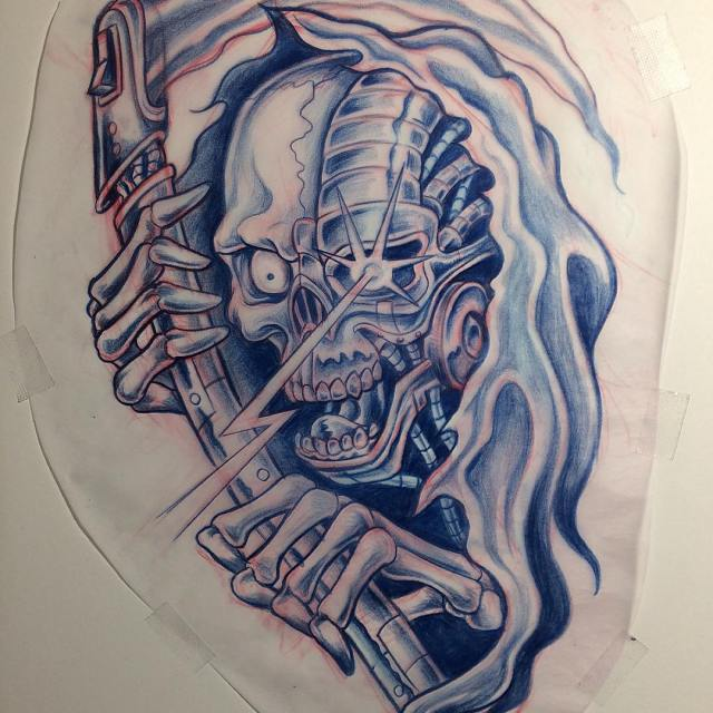 This cyborg grim reaper is available for tattoo A musthellip