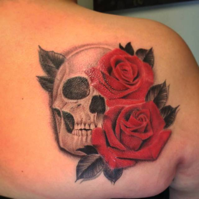 Did a couple of touch ups on this rose skullhellip
