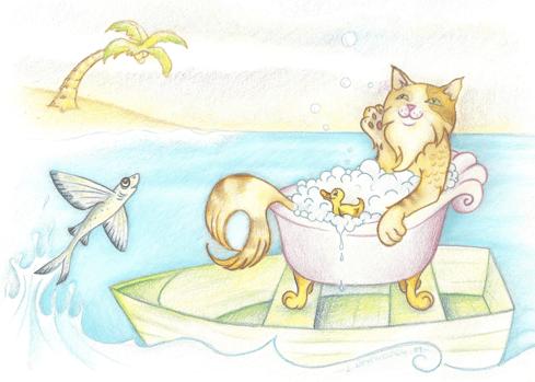"""""""Marcel prend un bain sur un bateau avec des poissons de vol"""""""
