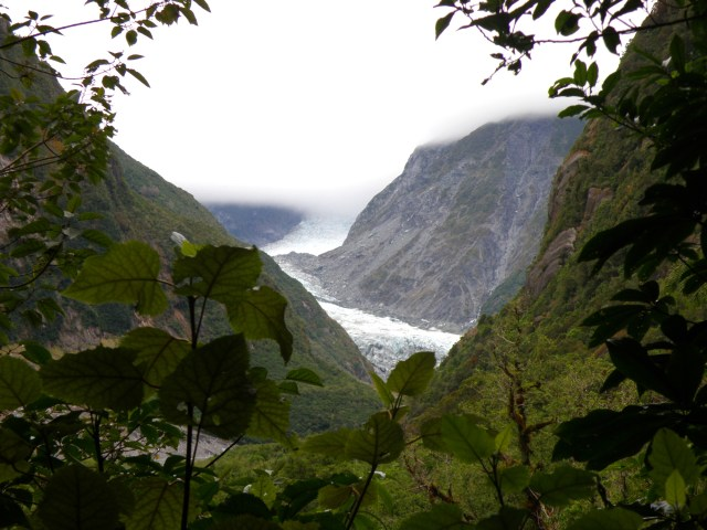 First glimpse of Fox Glacier