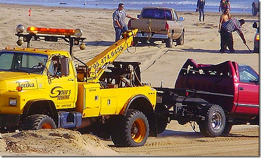 Towing wrecked truck