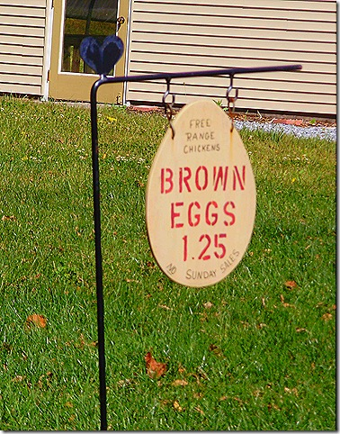 Brown eggs sign