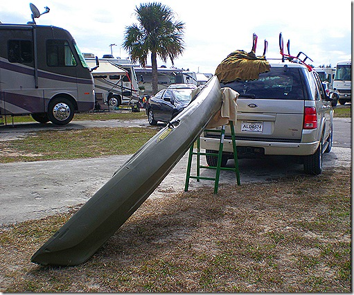Kayak on ladder