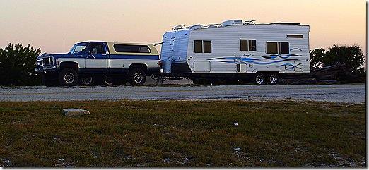Travel trailer on causeway