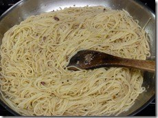 Skillet with pasta added