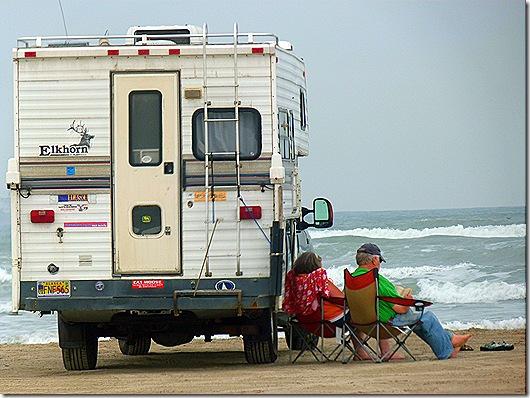 Truck camper on beach