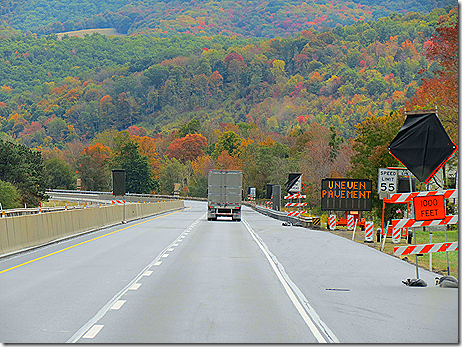 Road Construction PA turnpike