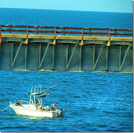 Boat fishing bridge