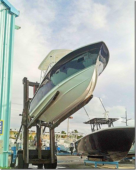 Boat on forklift