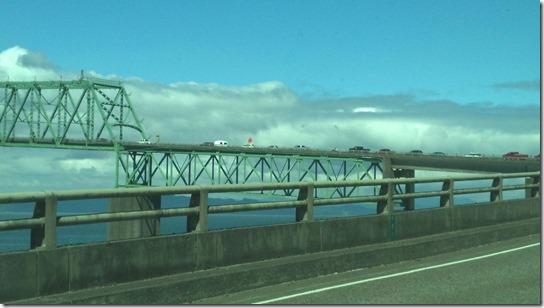 Cars stopped on bridge