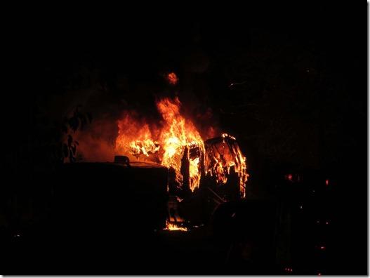 RV fire flames