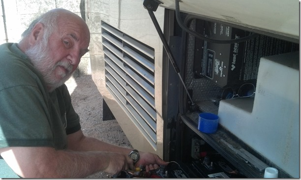 Greg working on batteries