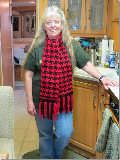 Terry red black shawl