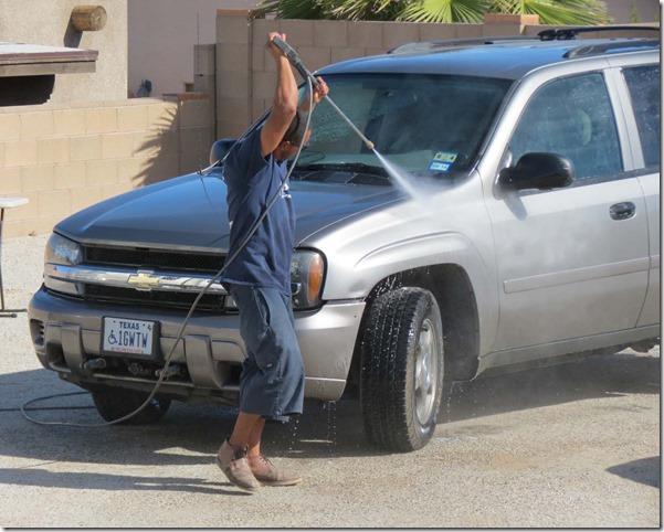 Washing Yust car