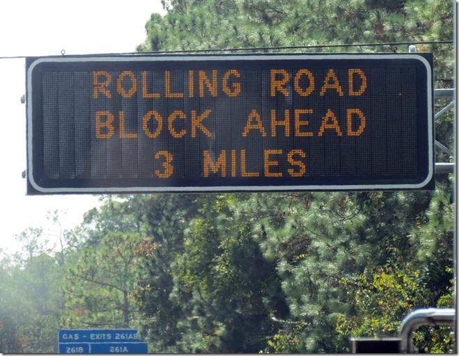 Road block sign