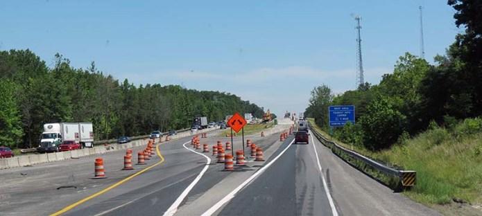 Road construction I65 Indiana