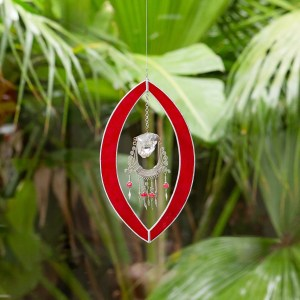 Large Red Oval Stained Glass Suncatcher